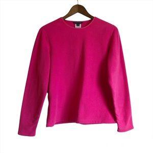 LANDS' END Cozy Long Sleeve Scoop Neck Fleece Sweater Shirt Top Pink